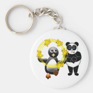 PENGUIN JUGGLING DUCKS PANDA BEAR DISAPPROVING BASIC ROUND BUTTON KEY RING
