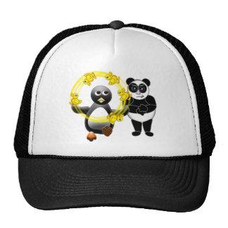 PENGUIN JUGGLING DUCKS PANDA BEAR DISAPPROVING TRUCKER HATS
