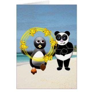 PENGUIN JUGGLING DUCKS PANDA BEAR DISAPPROVING CARD