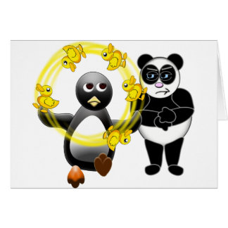 PENGUIN JUGGLING DUCKS PANDA BEAR DISAPPROVING GREETING CARD