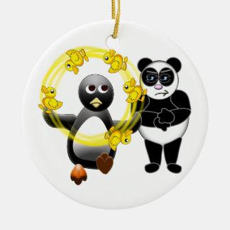 PENGUIN JUGGLING DUCKS PANDA BEAR DISAPPROVING ORN CHRISTMAS ORNAMENT