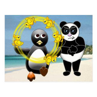 PENGUIN JUGGLING DUCKS PANDA BEAR DISAPPROVING POSTCARD