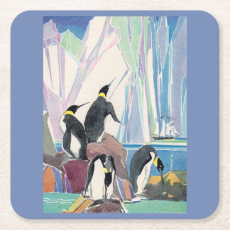 penguin land square paper coaster