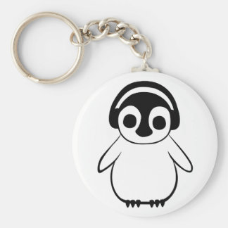 Penguin Listens To Music Badge Key Ring