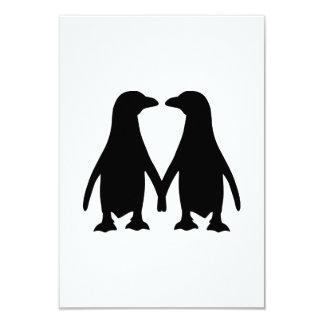 Penguin love 3.5x5 paper invitation card