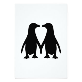 Penguin love 9 cm x 13 cm invitation card