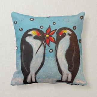 Penguin Love Christmas Pillow