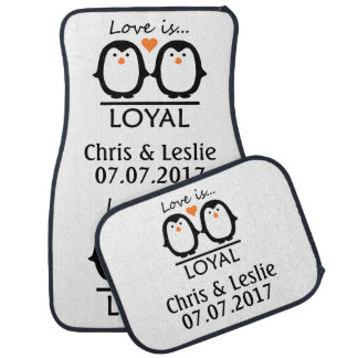 Penguin Love custom car floor mats