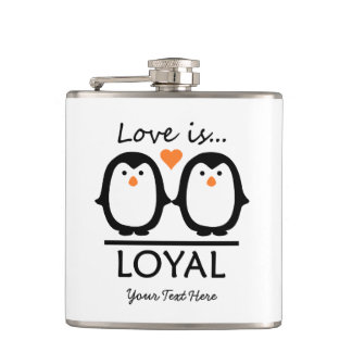 Penguin Love custom flask