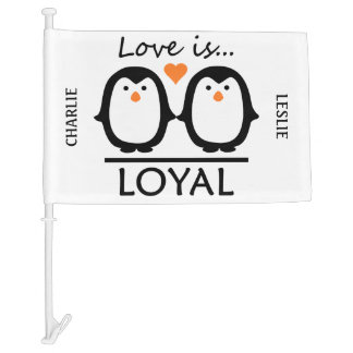 Penguin Love custom names car flag