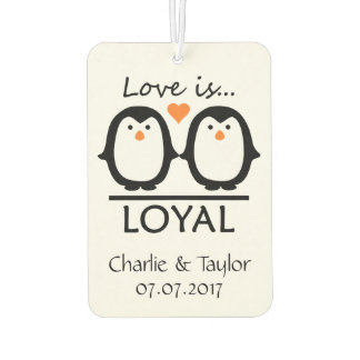 Penguin Love custom names & date air freshner