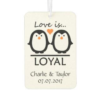 Penguin Love custom names & date air freshner Car Air Freshener