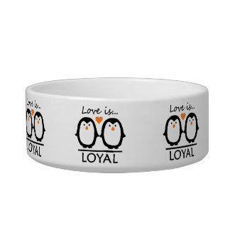 Penguin Love custom pet bowls