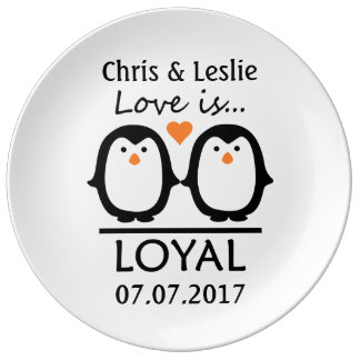 Penguin Love custom porcelain plate