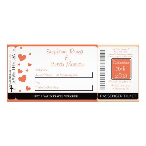 Penguin Love/Hear Boarding Pass Wedding Invitation