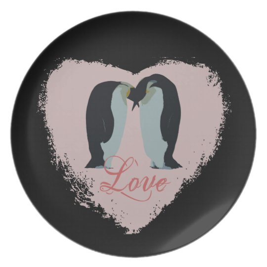 Penguin Love Heart Plate