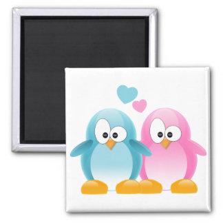 Penguin Love Square Magnet