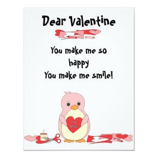 Penguin Making Valentines 11 Cm X 14 Cm Invitation Card