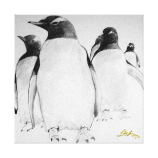 Penguin March Stretched Canvas Print