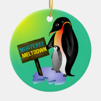 Penguin Mortgage Meltdown Round Ceramic Decoration