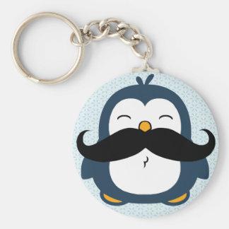 Penguin Mustache Trend Key Ring