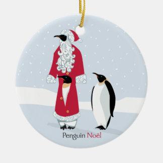 Penguin Noel Double-Sided Ceramic Round Christmas Ornament