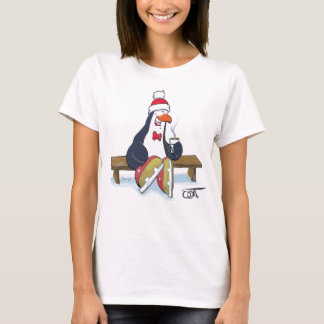 Penguin On Bench with a Hot Chocolate T-Shirt