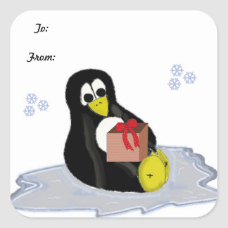 Penguin on Ice Patch Square Sticker