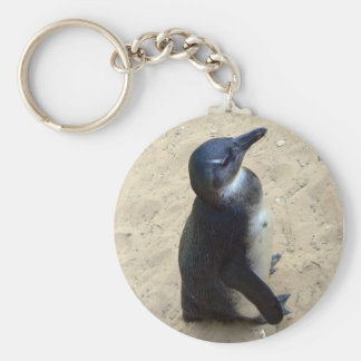 Penguin on sand key ring