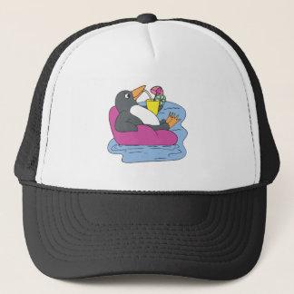 penguin on vacation trucker hat