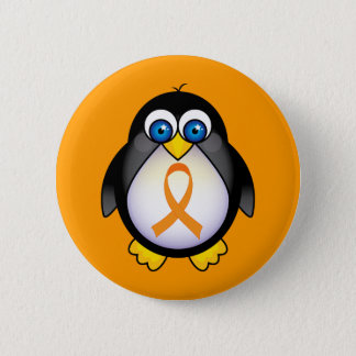 Penguin Orange Ribbon Of Awareness Gift 6 Cm Round Badge