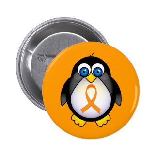 Penguin Orange Ribbon Of Awareness Gift 6 Cm Round Badge