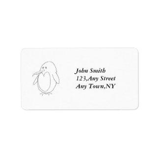 Penguin Outline Address Label Template