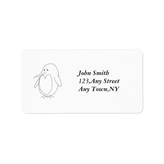 Penguin Outline Address Label Template