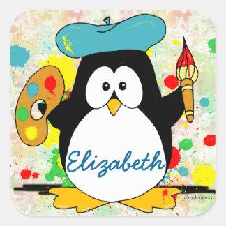 Penguin Painter Add Name Square Sticker