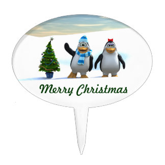 Penguin Pair with Tree Oval Cake Pick