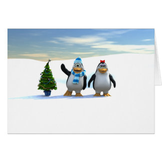 Penguin Pair with Tree Greeting Card