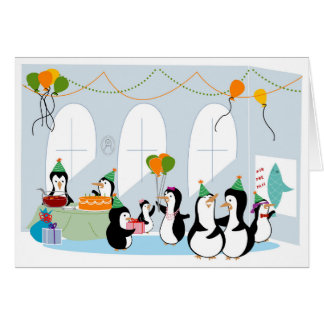 Penguin Party Birthday Card