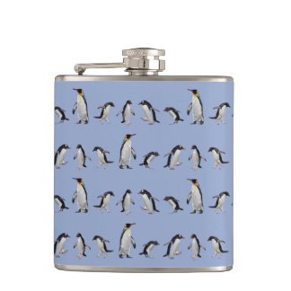 Penguin Party Hip Flask (Blue)