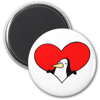 penguin peeking out of red heart 6 cm round magnet