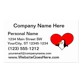 penguin peeking out of red heart pack of standard business cards