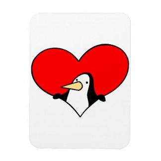 penguin peeking out of red heart rectangular photo magnet