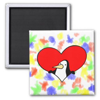 penguin peeking out of red heart square magnet