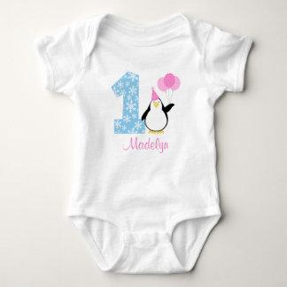 Penguin Pink Blue Girl Winter Onederland Birthday Baby Bodysuit
