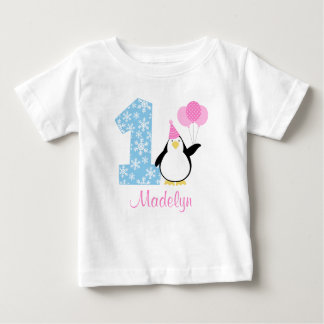 Penguin Pink Blue Girl Winter Onederland Birthday Baby T-Shirt
