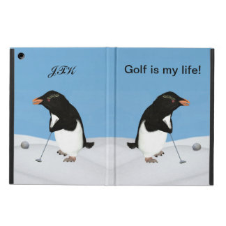 Penguin Playing Golf, Customizable Monogram iPad Air Case