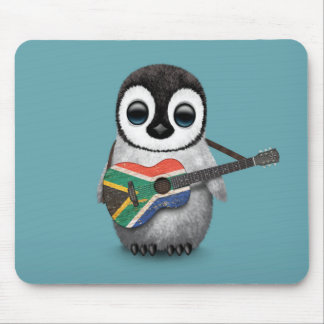 Penguin Playing South African Flag Guitar Blue Mouse Mat