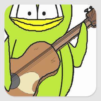 Penguin Playing the Guitar Square Sticker