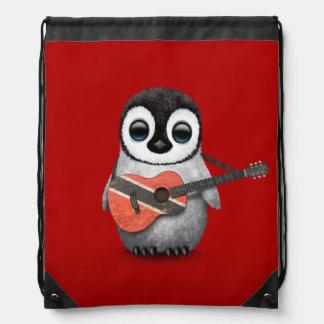 Penguin Playing Trinidad & Tobago Flag Guitar Red Drawstring Bag