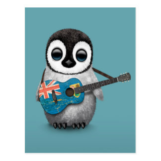 Penguin Playing Turks and Caicos Flag Guitar Blue Postcard